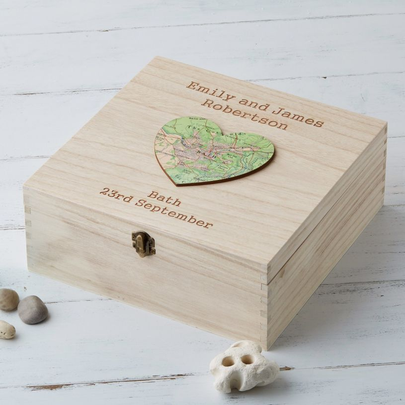 Personalised Map Heart Keepsake Box With Engraving