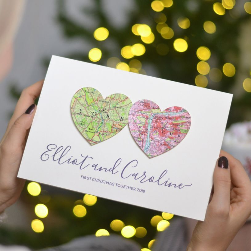 Unique Christmas Cards.Personalised Map Hearts Christmas Card