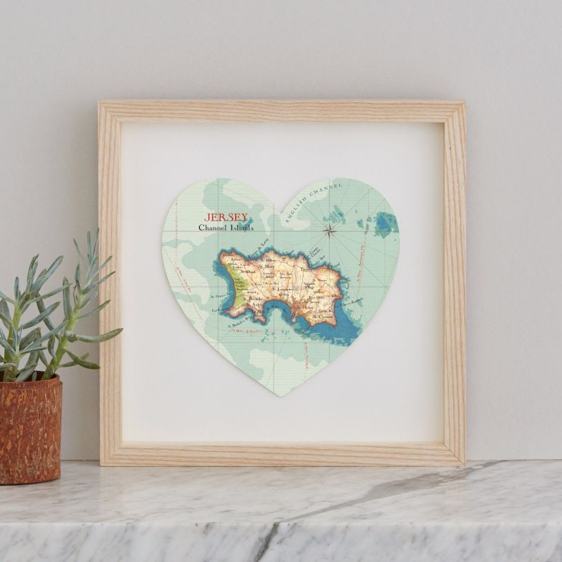 Map Of Uk Including Jersey.Jersey Map Heart Print