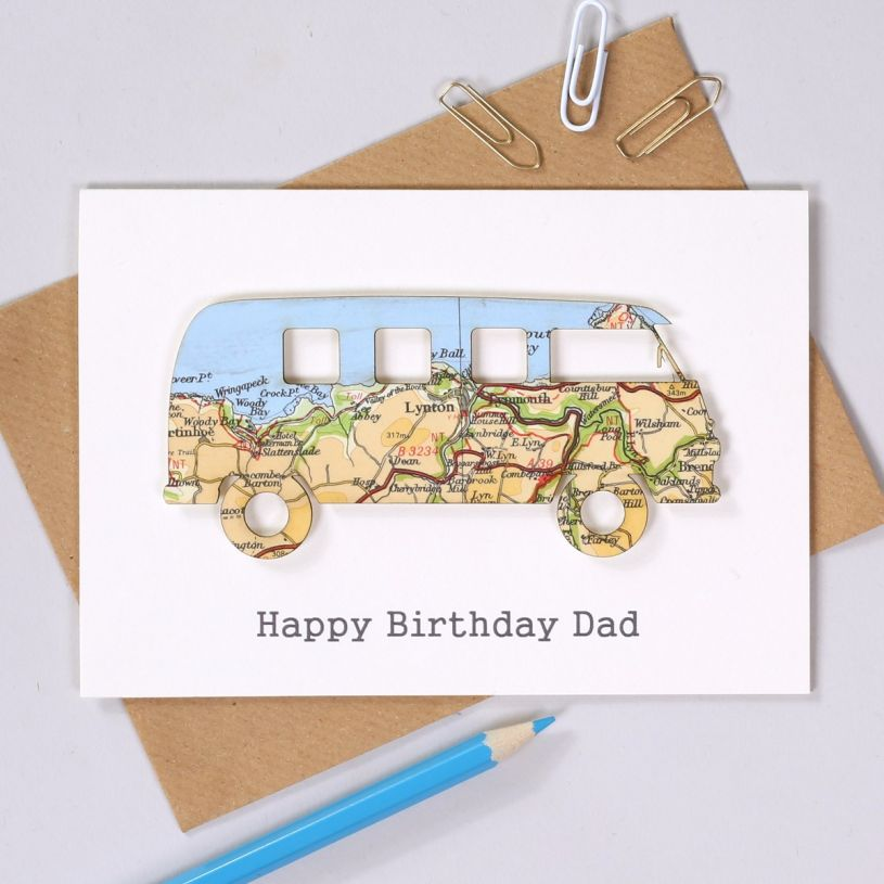 Map Campervan Birthday Card With Happy Dad Printed Below