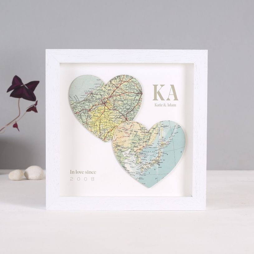 Two Personalised Map Location Hearts
