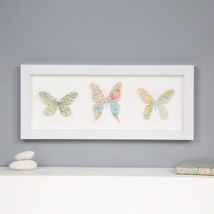 Three Map Location Butterflies Artwork White Frame Landscape Orientation