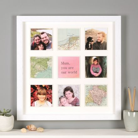 Personalised map photo frame print for her