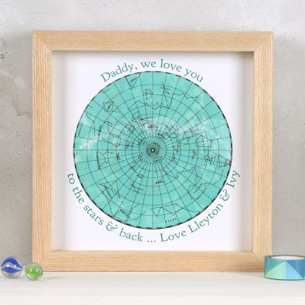 Father's day love you to the stars map print