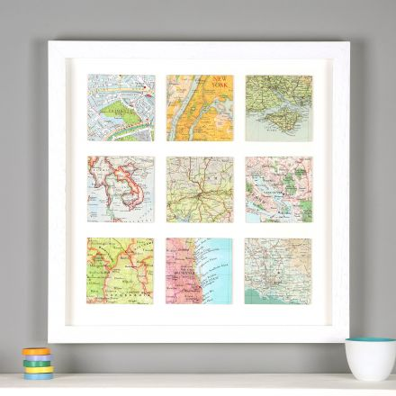 Nine map location squares in white frame.
