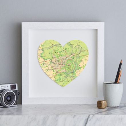 Map heart of Bath, in a white box frame.