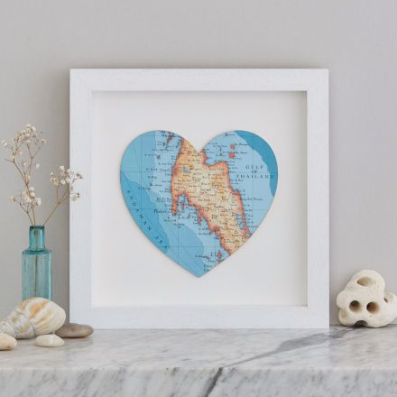 Thailand map heart print in white wood frame.