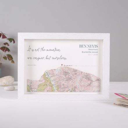 Framed map mountain artwork, silhouette of Ben Nevis cut from antique map with printed personalisation.
