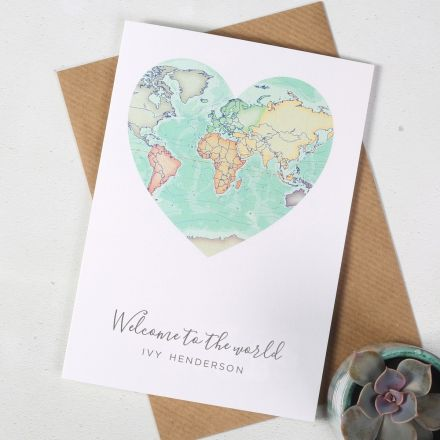 Welcome to the world personalised new baby card