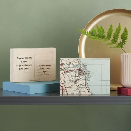 Personalised map location postcard ornament