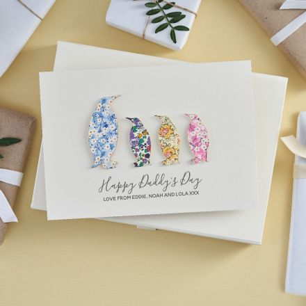 Personalised Father's Day Liberty penguin card