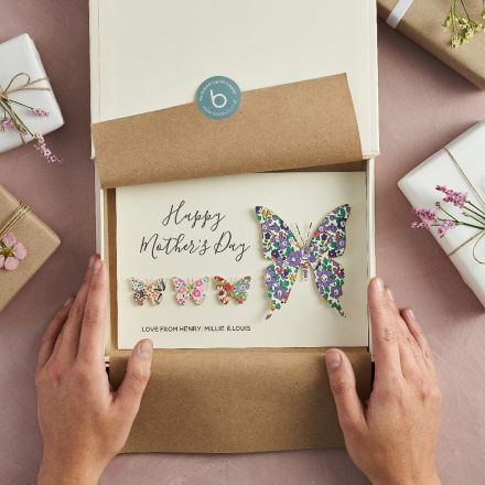 Liberty butterfly Mother's day card. Mum butterfly with 3 small butterflies and printed personalisation.