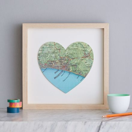 Brighton and Hove coastal map showing the south downs national park and Brighton pier in a natural wood box frame.