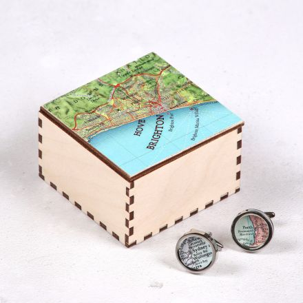 Personalised map location cufflinks and map top box