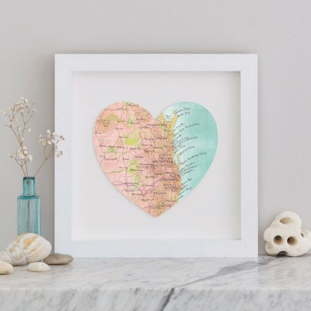 A map heart in a white box frame of Brisbane, Queensland Australia showing the gold coast, fraser island and surrounding coastline.