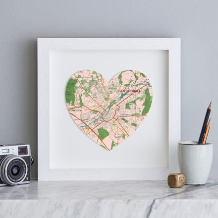 Canterbury map heart print in white wood frame.