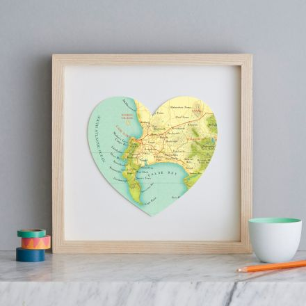 Cape town map heart, in the light wood frame, showing false bay and stellenbosch, South Africa