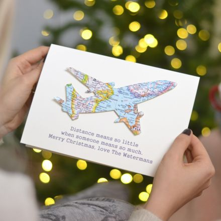 Map aeroplane Christmas card with map location of your choice and printed personalised message printed beneath.