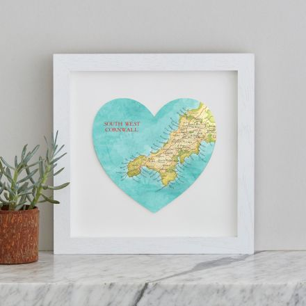 South West Cornwall map heart with a white painted box frame.