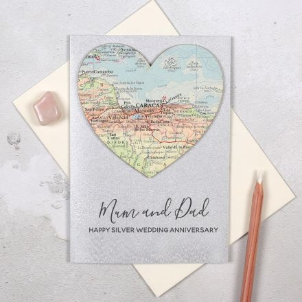 Silver wedding anniversary map heart card with personalised message.
