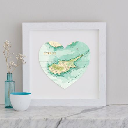 Cyprus map heart mounted in white wood box frame