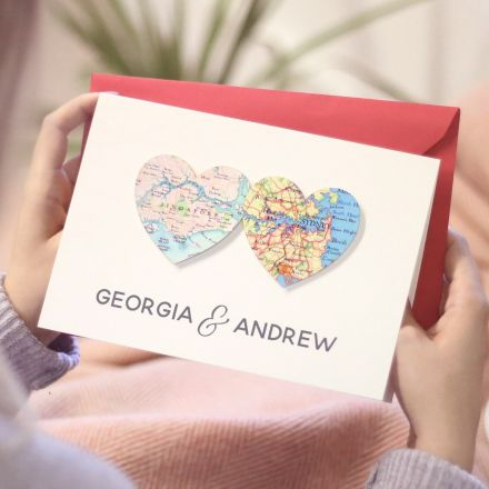 Two map hearts card with couples names 'Georgia & Andrew' printed beneath.