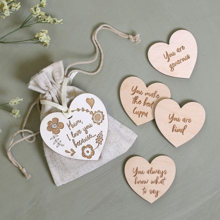 I Love You Because Personalised Heart Tokens
