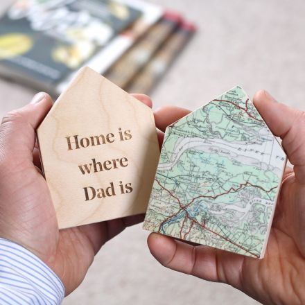 Little wooden map houses with 'Home is where Dad is' engraved on reverse.