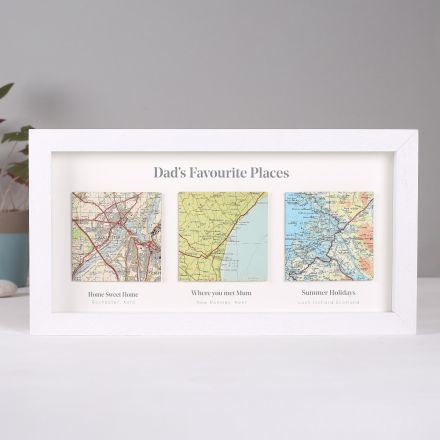 Three map location squares in landscape white wood box frame with printed personalisation beneath each location.