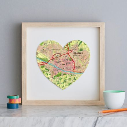 Map of Florence, Italy in light wood box frame.