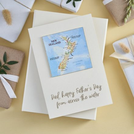 Father's day card featuring map location and personalised message printed beneath.