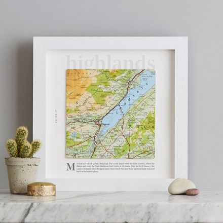 Map square personalised with 'highlinds' printed above map and personalised message below. White square box frame.