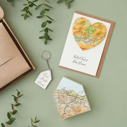 New home letterbox gift, map heart card, engraved house keyring and map house ornament.