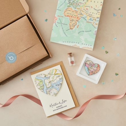 wedding day letterbox gift, miniature map heart, map heart card and notebook