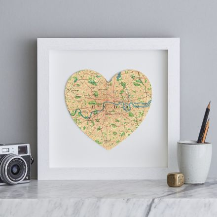 London map heart print in white wood square frame.