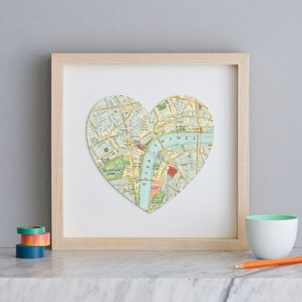 London South Bank map heart mounted on white card and framed in light wood frame