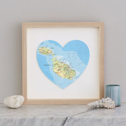 Malta and Gozo map heart print in light wood frame.