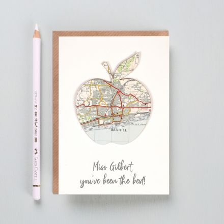 Personalised map apple thank you card, map apple with personalised message printed beneath.
