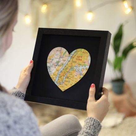 Personalised map location heart black frame