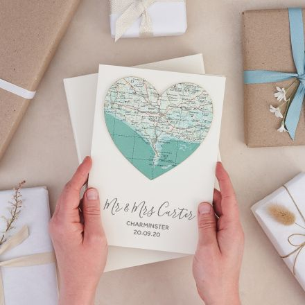 Personalised map heart card with your own words printed beneath heart.