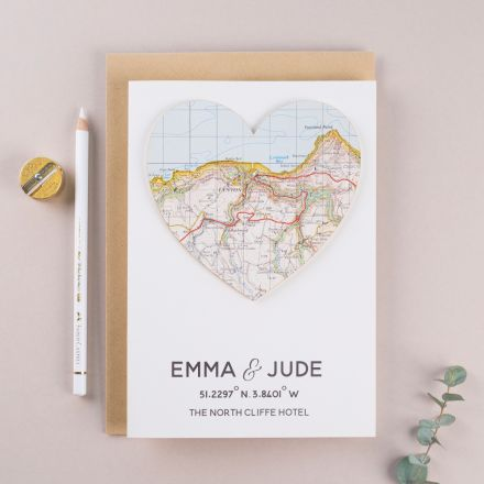 Map heart Valentine's card personalised with couples names and location coordinates.