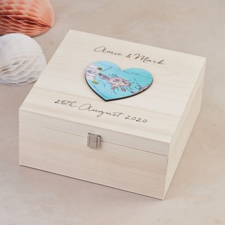 Wedding keepsake box with map heart on lid and couples names, wedding venue and date engraving.