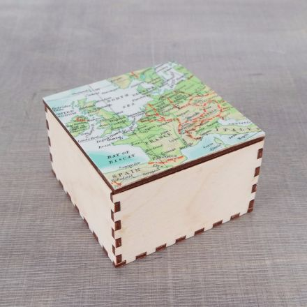 Map top wooden cufflink or jewellery box