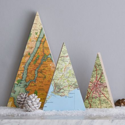 Personalised map tree Christmas decoration