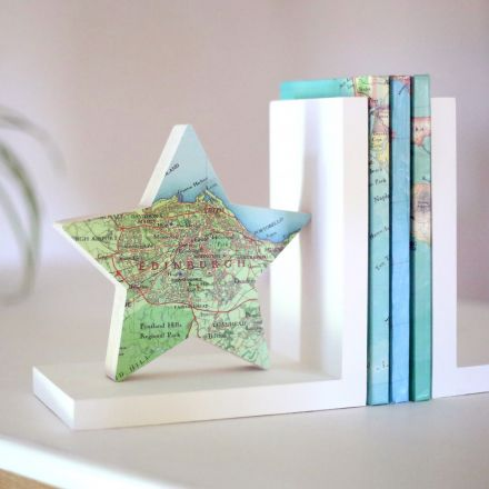 Map star solid wood bookend
