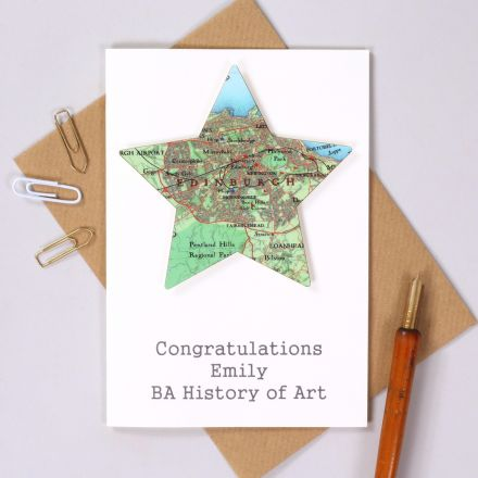 Edinburgh map star mounted on white card with 'Congratulations Emily, BA History of Art' graduation card.