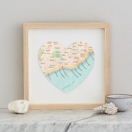 Marbella map heart with light wood box frame