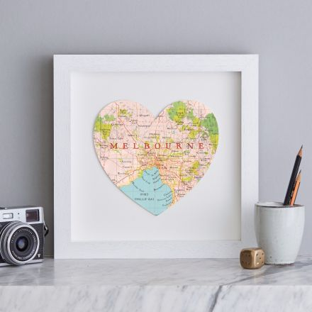 Melbourne map heart in white box frame