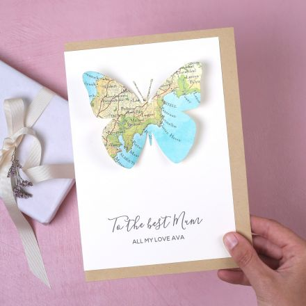 Personalised map butterfly Mother's day card