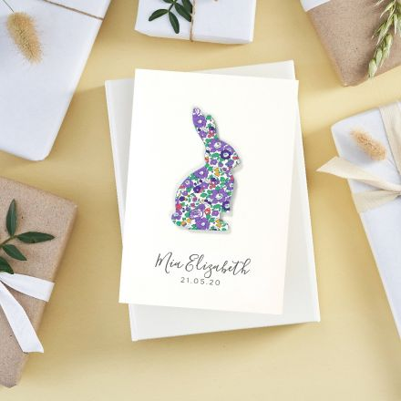 New baby card with Liberty fabric bunny and 'Mia Elizabeth 21.05.20' printed beneath